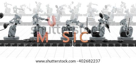 3D render of robots that produce music - stock photo