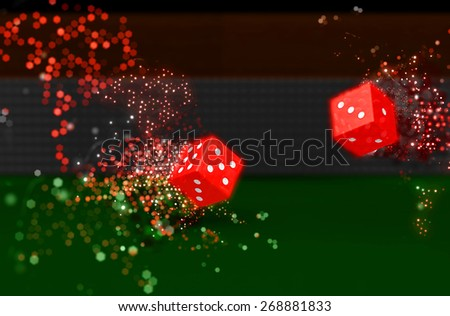 3D render of rolling dice with bokeh light effect - stock photo