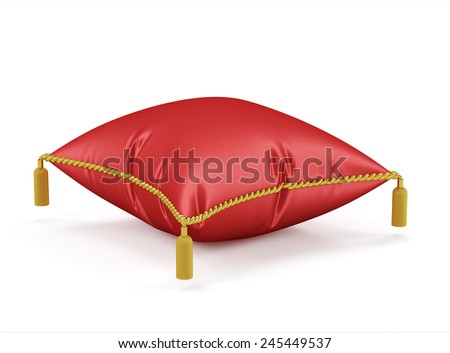 3d render of Royal red velvet pillow isolated on white background - stock photo