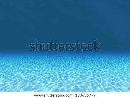 3d render of Sandy bottom, blue and surface underwater  - stock photo