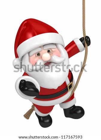3D render of Santa Claus hanging - stock photo