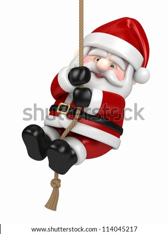 3d render of Santa Claus hanging on a rope - stock photo
