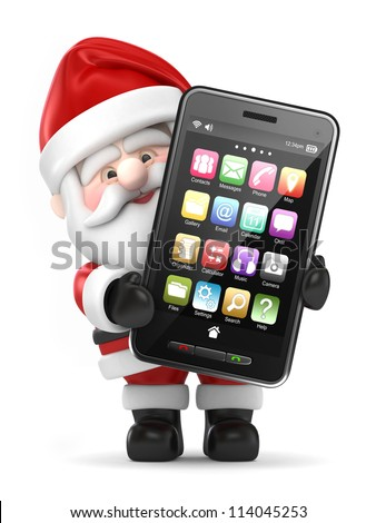 3d render of Santa Claus holding a big smart phone - stock photo
