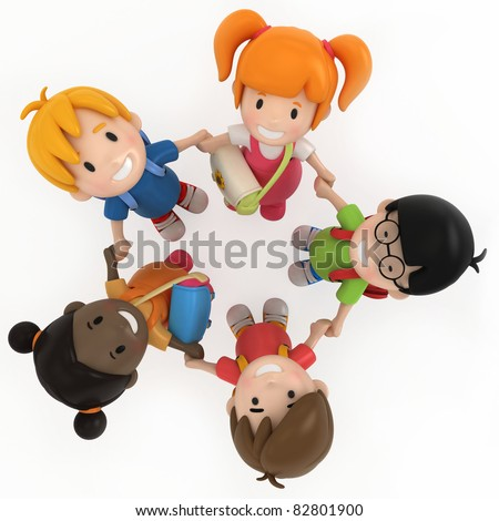 3D Render of School Kids Holding Hands - stock photo
