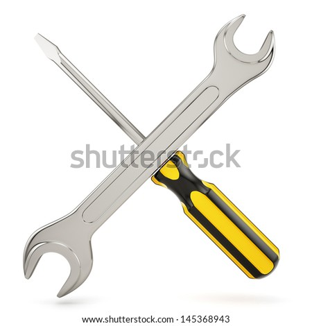 3d render of screwdriver with wrench crossed - stock photo