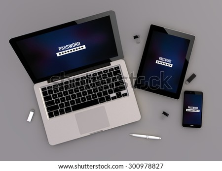 3d render of security concept devices with laptop computer, tablet pc and touchscreen smartphone. top view. All screen graphics are made up. - stock photo