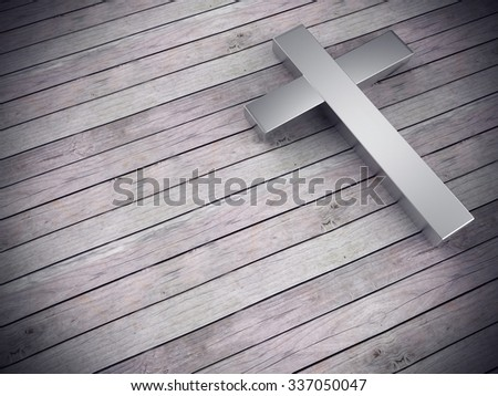 3d render of silver cross on wood background with clipping path , left space for text   - stock photo