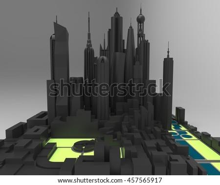3D render of simplified city skyline - stock photo