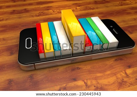 3d render of smartphone with books. E-book library concept  - stock photo