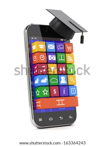 3d render of smartphone with graduation cap. Education concept - stock photo