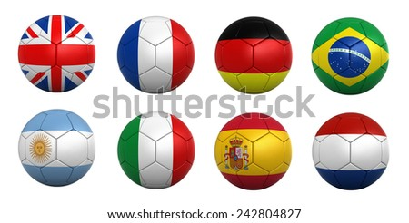 3d render of soccer balls with national flags - stock photo