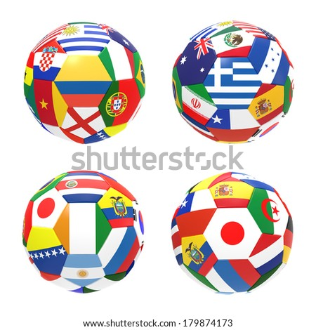 3D render of 4 soccer football representing competition group C on 2014 FIFA world cup on on white background - stock photo