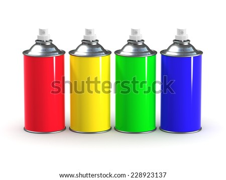 3d render of spray paint cans in primary colors - stock photo