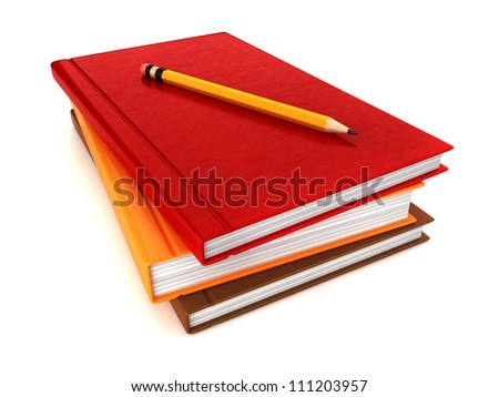 3d render of stack of books with pencil on top - stock photo