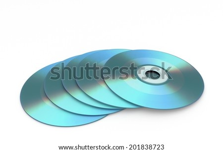 3D render of stack storage medium - cd rom - stock photo