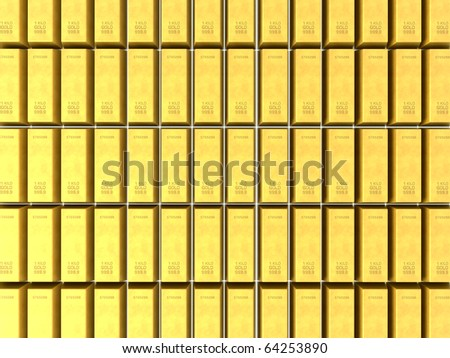 3D render of stacked rows of shiny gold bars - stock photo