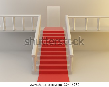 3d render of staircase and red carpet. - stock photo