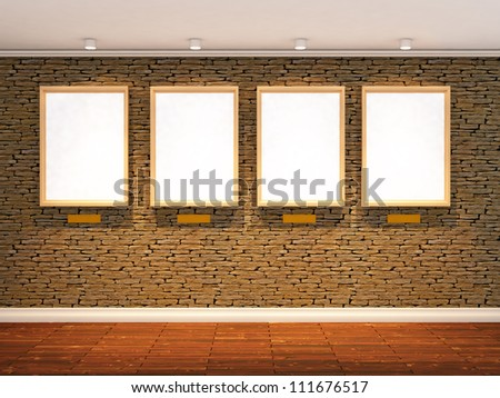 3d render of stone wall with four spot lights and  three picture frames, realistic wooden floor - stock photo