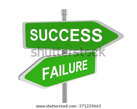 3d render of success and failure concept roadsign board, 3d illustration - stock photo
