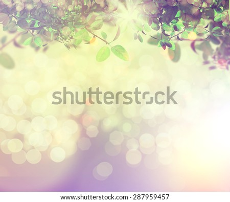 3D render of sunlight shining through leaves on a bokeh light background with vintage effect - stock photo