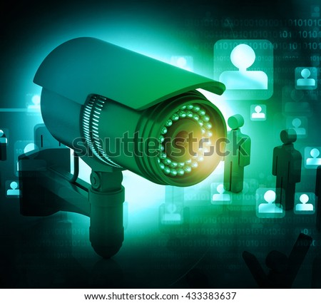 3d render of Surveillance camera with people. technology background 	 - stock photo