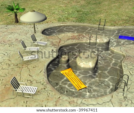3d render of swimming pool - stock photo