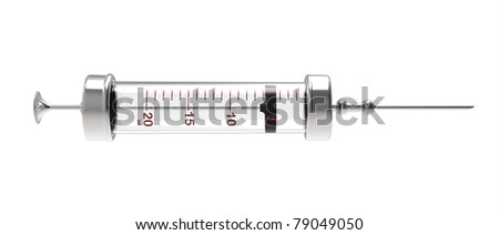 3d render of  syringe with a needle on a white background - stock photo