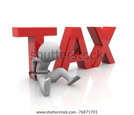 3d render of taxes burden concept - stock photo