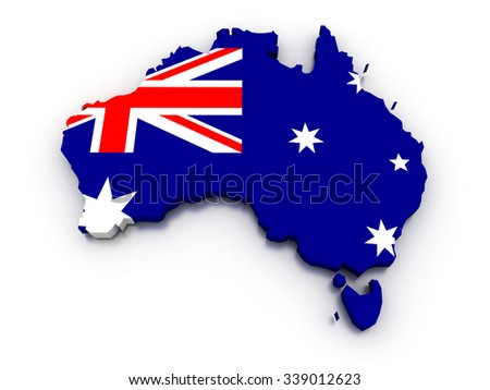 3D render of the Australian map in the colors of its flag. - stock photo