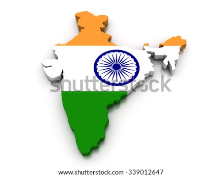 3D render of the Indian map in the colors of its flag. - stock photo