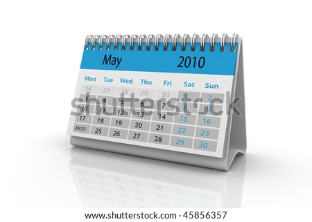3d render of the May 2010 calendar. - stock photo