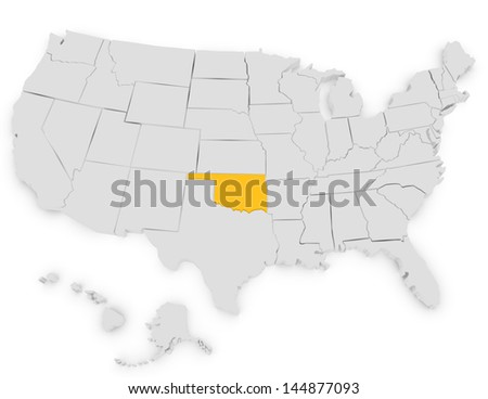 3d Render of the United States Highlighting Oklahoma - stock photo