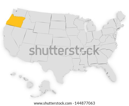 3d Render of the United States Highlighting Oregon - stock photo