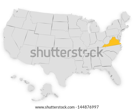 3d Render of the United States Highlighting Virginia - stock photo