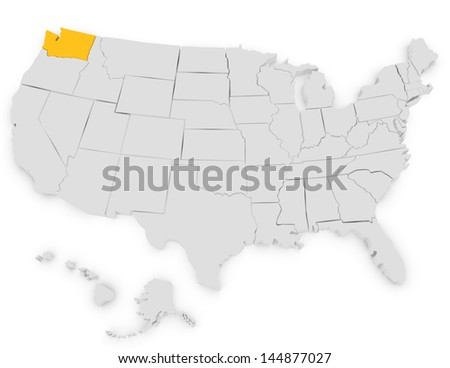 3d Render of the United States Highlighting Washington - stock photo