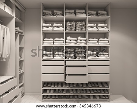 3D render of the wardrobe room in light tones. Render without textures and shaders  - stock photo