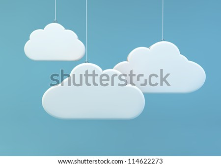 3d render of three clouds - stock photo