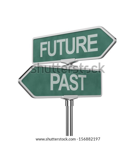 3d render of time concept roadsign board isolated on white background - stock photo