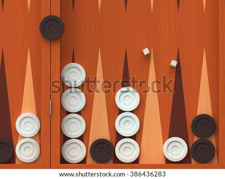 3D render of  traditional backgammon game board - stock photo