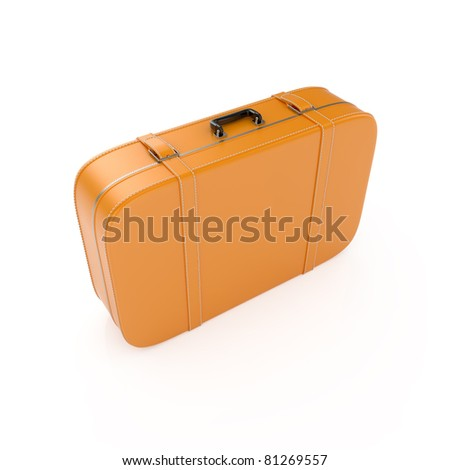 3d render of travel suitcase isolated on white background - stock photo