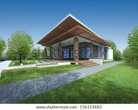 3D render of tropical house with green area - stock photo
