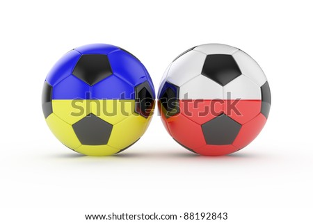3d render of two football euro 2012 isolated on white background - stock photo