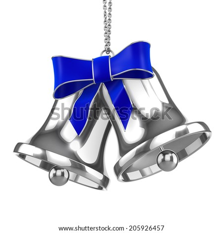 3d render of two silver Christmas bells with blue ribbon - stock photo
