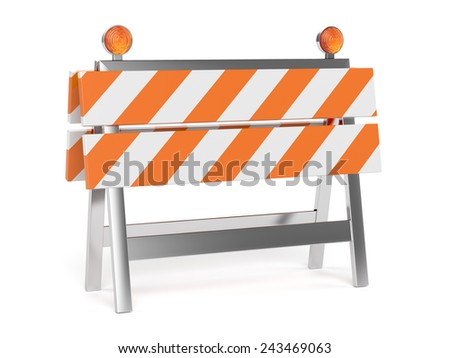 3d render of under construction barrier with road cones. Isolated on white background  - stock photo
