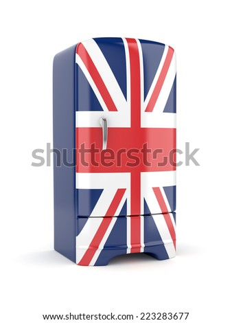 3d render of Union Jack flag fridge. Isolated on white background.  - stock photo