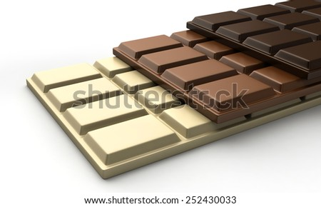 3d render of various types of chocolate bars - stock photo