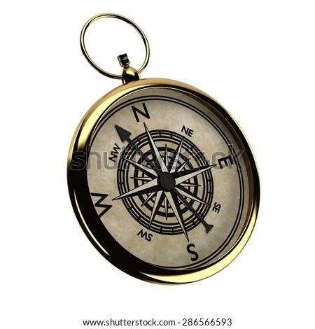 3d render of vintage compass - stock photo