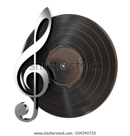 3d render of vinyl record with music key - stock photo