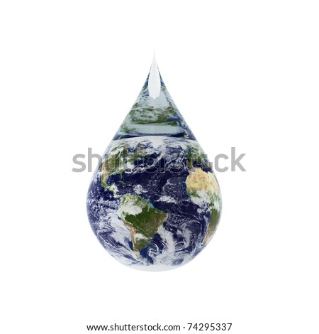 3d render of water drop - stock photo