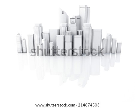 3d render of white city isolated on mirror background - stock photo